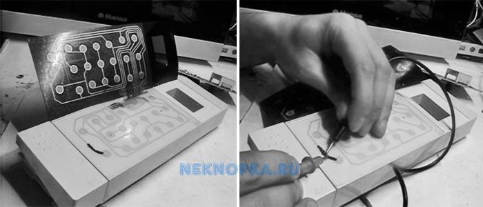 Проверяем работоспособность отремонтированной дорожки электроцепи для кнопок микроволновки