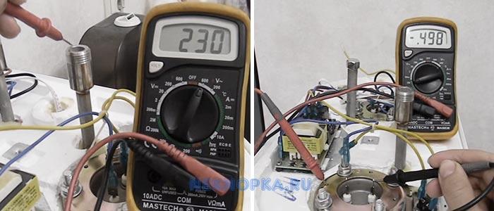 Проверка работоспособности нагревательных элементов