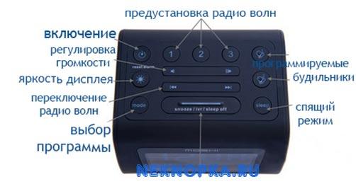 Обозначение кнопок на китайском будильнике с радио