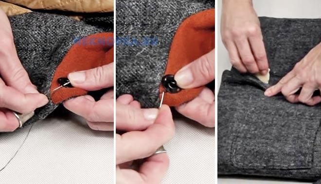 Как пришить кнопки к пальто или шубе