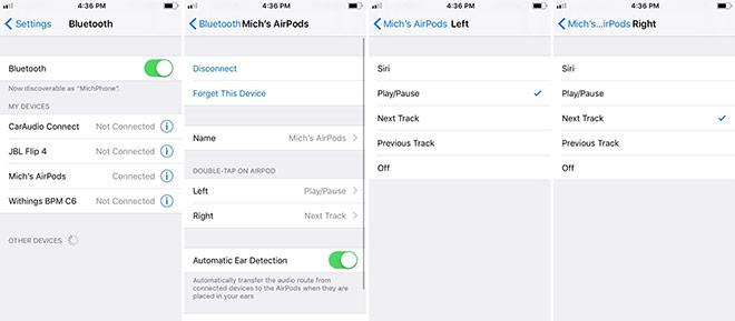 Настройка приложения кнопок AirPods