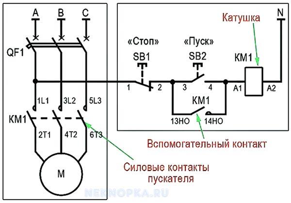 Схема подключения магнитного пускателя через кнопку