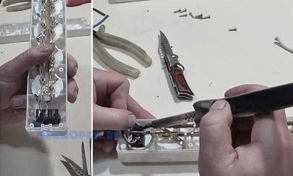 ремонт кнопки сетевого фильтра пошагово